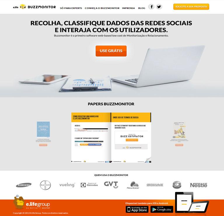 BUZZMONITOR - Desenvolvimento de website para divulgalção da ferramenta de monitoração do grupo E.life