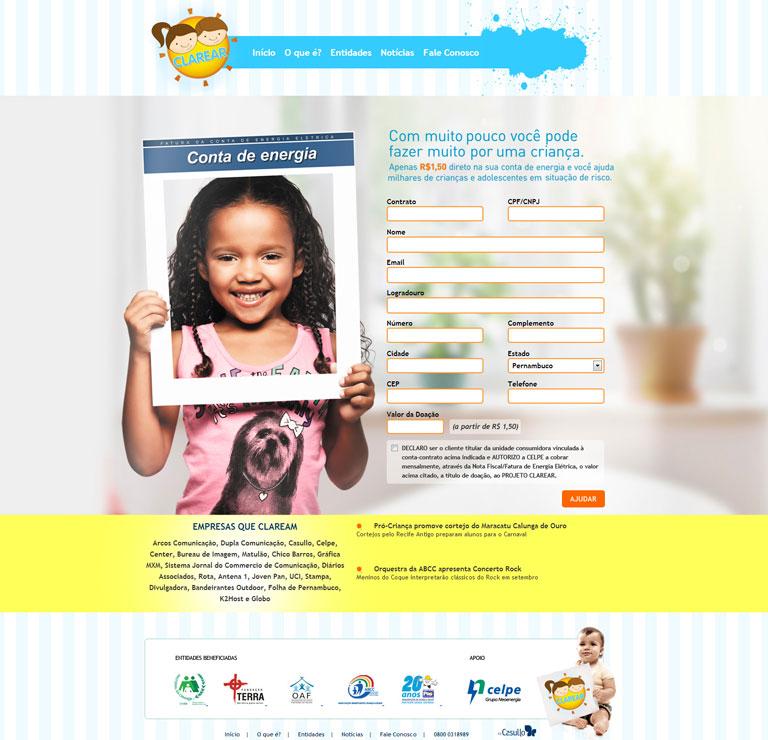 CLAREAR - Desenvolvimento de website para o Projeto Clarear