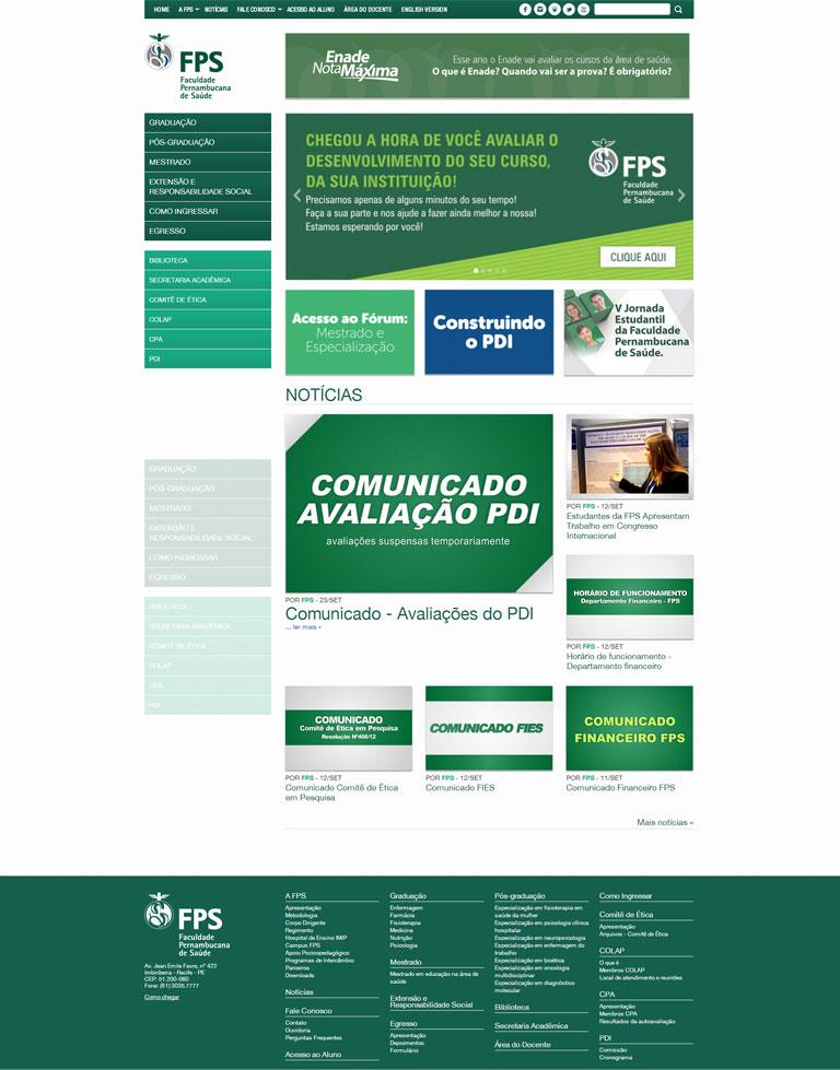 FPS - desenvolvimento de website da Faculdade Pernambucana de Saúde